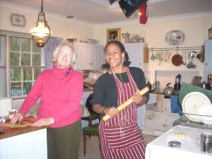 Grandma's cooking class - Pamela and Zoe at work in the Longwood kitchen